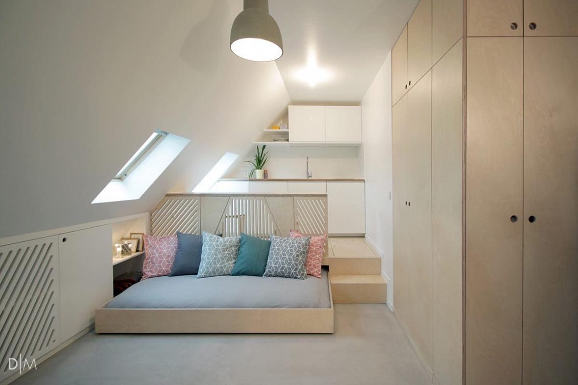 طراحی دکوراسیون داخلی یک اتاقک زیرشیروانی