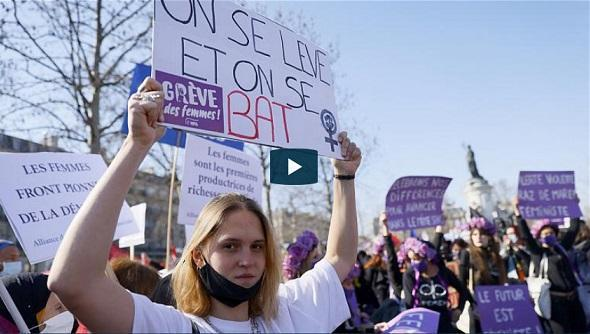 تظاهرات در روز جهانی زن در شهرهای مختلف اروپا
